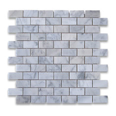 "12""x12"" Carrara White Medium Brick Mosaic Tile Polished, Chip Size: 1""x2"""