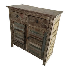 Mogul Interior - Consigned Antique Distressed Sideboard Dresser Buffet Indian Furniture - Dressers