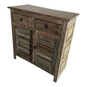 Mogul Interior - Consigned Antique Distressed Sideboard Dresser Buffet Indian Furniture - Dressers