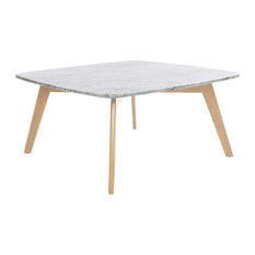 "Vezzana 31"" Square Italian Carrara White Marble Table with Oak Legs"