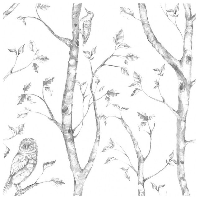 Trees and birds peel and stick wallpaper gray 4 rolls