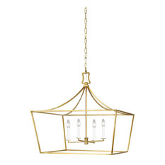 Southold 4-Light Single Tier Chandelier, Burnished Brass