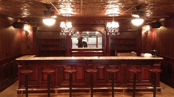 This is a custom period recreation of an 1860s era bar made from rustic cherry f