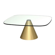 Oscar Small Square Coffee Table, Clear Glass, Brass Base