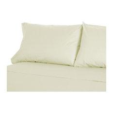 100% Organic Cotton Queen Sheet Set Natural Color, 300 Thread Count