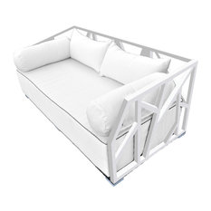 Solis Nidum Deep Seated Powder Coated Steel Patio Modern Daybed, White/White