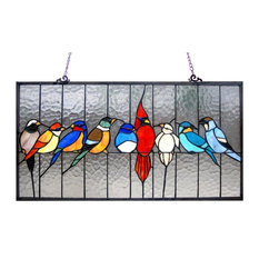 Chloe Lighting Tiffany-Glass Featuring Birds In The Cage Window Panel