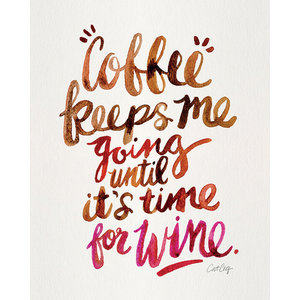 """Coffee & Wine"" Printed Canvas by Cat Coquillette, 50x40 cm"