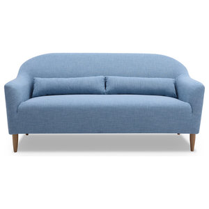 2-Seater Curved Sofa, Light Blue