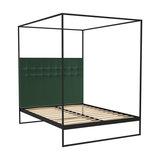 Federico Double Canopy Bed, Green Velvet, Black Base
