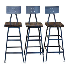 Set of 3 Urban Bar Stools With Backs, Reclaimed Barn Wood, Natural Wood, 30""