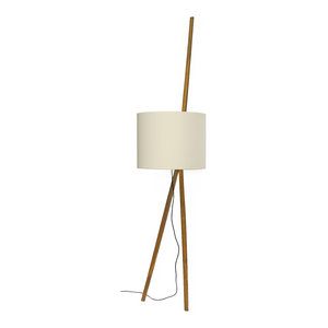 Luca Lean Floor Lamp, Oak Stand and White Lampshade
