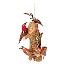 Swahili African Modern Birds of a Feather Hanging Wooden Sculpture