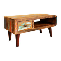 VidaXL Antique-Style Reclaimed Wood Coffee Table  With Curved Edge
