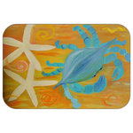 "Mary Gifts By The Beach - Star Fish Crab Plush Bath Mat, 20""x15"" - Bath mats from my original art and designs. Super soft plush fabric with a non skid backing. Eco friendly water base dyes that will not fade or alter the texture of the fabric. Washable 100 % polyester and mold resistant. Great for the bath room or anywhere in the home. At 1/2 inch thick our mats are softer and more plush than the typical comfort mats.Your toes will love you."
