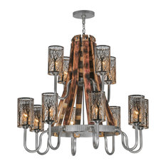 "44"" Barrel Stave Winter Maple 12-Light Two Tier Chandelier"