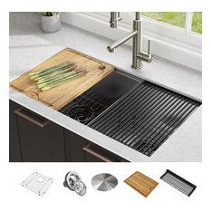 """Kraus KWU112-33 Kore 33"""" Undermount Double Basin Stainless Steel Kitchen Sink"""