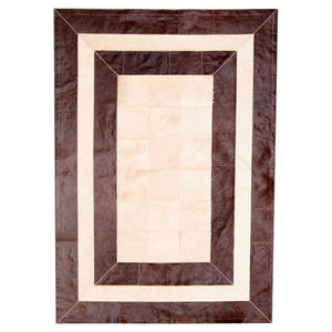 Patchwork Leather Cubed Cowhide SR2 Rug, Brown and Light Beige, 200x300 cm