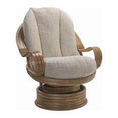 Madrid Light Oak Rattan Swivel Rocking Chair With Beige Jasper Cushions