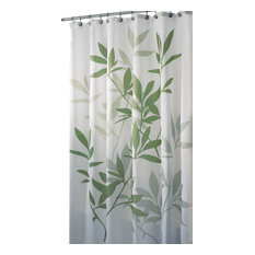 Captivating InterDesign   InterDesign Green Leaves Poly Shower Curtain   Shower Curtains  Contemporary Shower Curtains