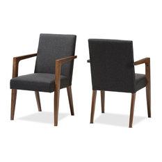 Andrea Mid-Century Dark Gray Upholstered Wooden Armchair, Set of 2
