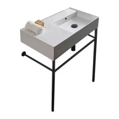 Ceramic Console Sink And Matte Black Stand No Hole