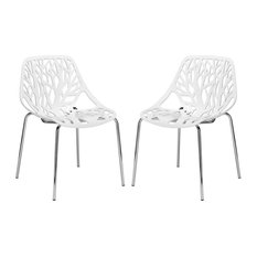 Birds Nest Dining Side Chairs, Set of 2, White