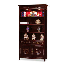 Rosewood Mother of Pearl Bird and Flower Design Bookcase