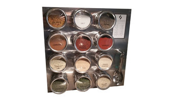 Magnetic Spice Rack (12 Tins, Measuring Spoons, 30 Labels, Steel Plate & Chart)