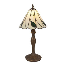 Autumn Leaf and Jewel Tiffany Glass Table Lamp, Beige and Green