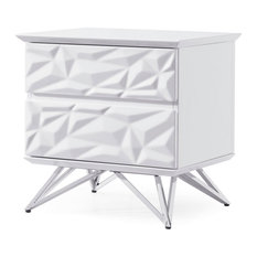 Modern Abesti 2 Drawer Accent Table In White High Gloss Lacquer With Chrome Legs