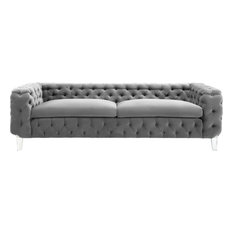 TOV Furniture   Celine Velvet Sofa, Gray   Sofas