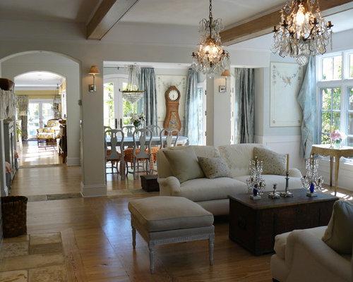 Cottage Chic Medium Tone Wood Floor Living Room Photo In San Francisco