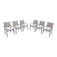 Aluminum Stackable Chairs, Set of 6