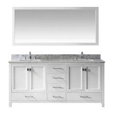 "Caroline Avenue 72"" Double Bathroom Vanity,White,Marble Top,Square Sink,Mirror"