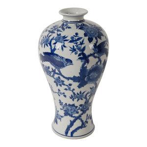 """Ren Blue/White Bird Vase, D7x13"""""""