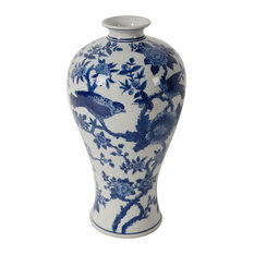 Ren Blue/White Bird Vase, D7x13""