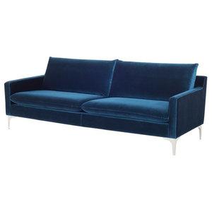 "85.5"" L Andi Sofa Brushed Stainless Steel Legs Plush Velour Modern Chic"
