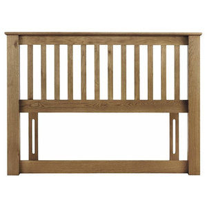Headboard, Natural Finished Solid Wood, Contemporary-Traditional Design, Double