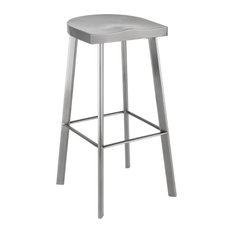 16.3-inch W Set Of 2 Bar Stool Modern Contemporary Stainless Steel Contoured Seat