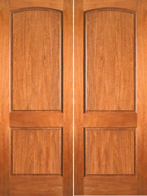 p621 interior mahogany 2 panel arch top panel double door interior doors