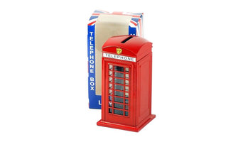 Red Diecast Metal London Telephone Box Money Box