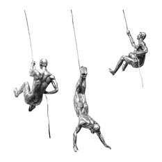 """Bentley & Bo - Polyresin Silver """"Climbing Men"""" Trio Figurines - Decorative Objects and Figurines"""