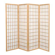 5' Tall Window Pane Shoji Screen, Natural, 4 Panels
