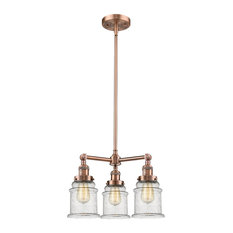 "3-Light Canton 18"" Chandelier, Antique Copper, Glass: Seedy"
