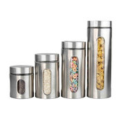 Home Basics 4 Piece Stainless Steel Canister Set