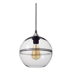 """Unique Optic Contemporary Hand Blown Glass Pendant Light, Shade: Clear, 9"""""""