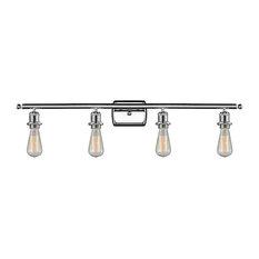 Innovations 4-Light Bare Bulb Bathroom Fixture, Polished Chrome