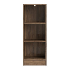 Tvilum Element Short Narrow 3-Shelf Bookcase, Walnut