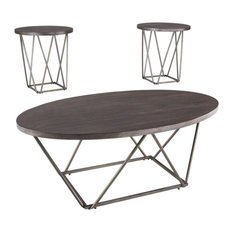 Neimhurst Table Set, Coffee Table and 2 End Tables, Dark Brown